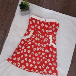 Urban Outfitters Strapless red floral dress